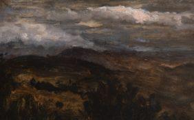 Pierre-Henri de Valenciennes attr., Paysage crépusculaire, nuages roses