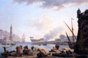 Le lancement d'un navire de guerre à l'entrée d'un port