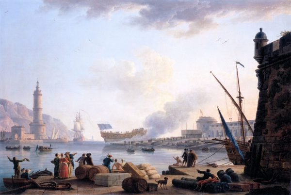 The Launch of a Warship at the Mouth of a Port