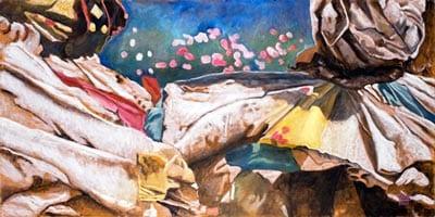 tissu fleuri, par Véronique Heim