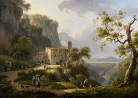 Vue d'un couvent dans la campagne romaine