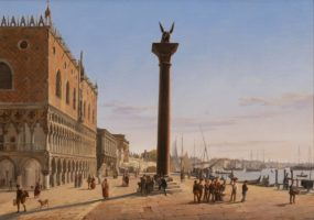 Frans Vervloet, Venice, a View of the Palazzo Ducale looking East down the Riva degli Schiavoni