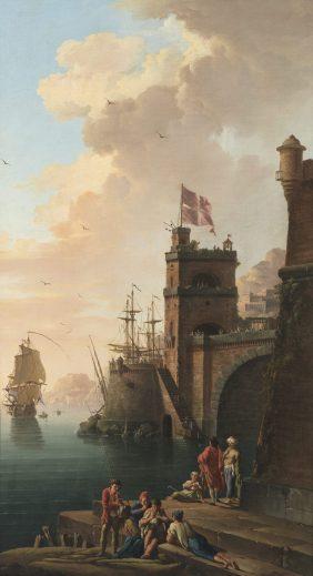 Vue d'un port méditerranéen où flotte le drapeau de l'Ordre de Saint Jean de Jérusalem
